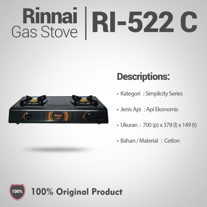 Rinnai Kompor Gas 2 Tungku RI-522C-hitam