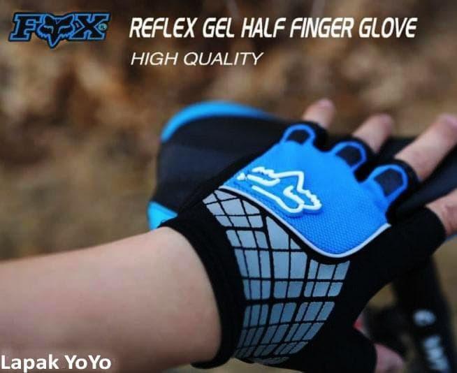 harga Gloves sepeda gel fox imported half finger blue Tokopedia.com