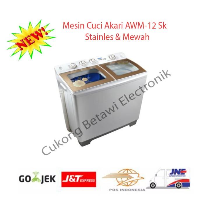 harga Akari awm-12sk mesin cuci 2 tabung 12 kg [tempered glass/bluwash-resmi Tokopedia.com