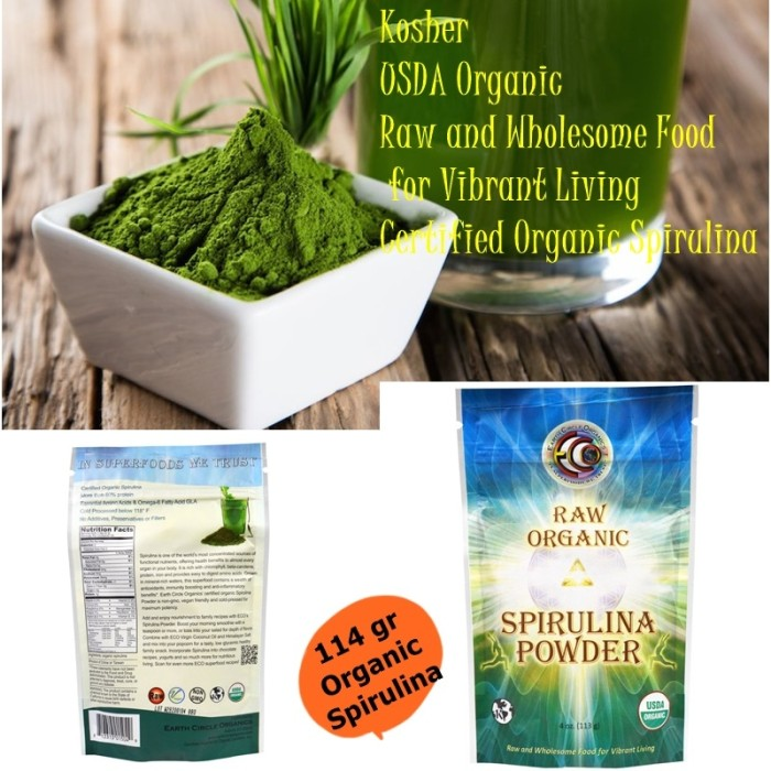 harga Earth circle usa organics raw organic spirulina powder  113 g halal Tokopedia.com