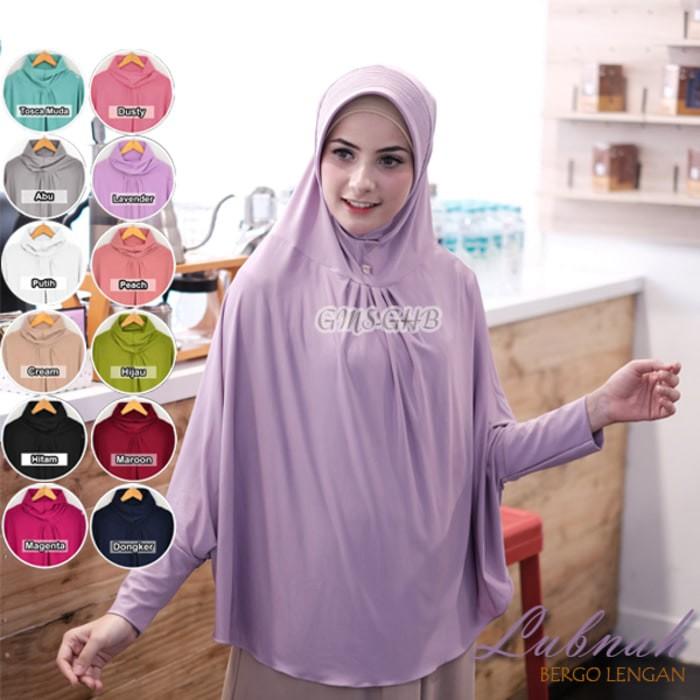 Jual Hijab Jilbab Bergo Lubnah Kerut Lengan Ukuran Jumbo Bahan