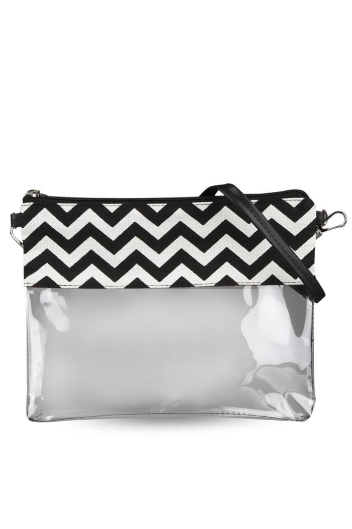 Tas selempang cewek sling bag wanita mini transparan zig zag bta286