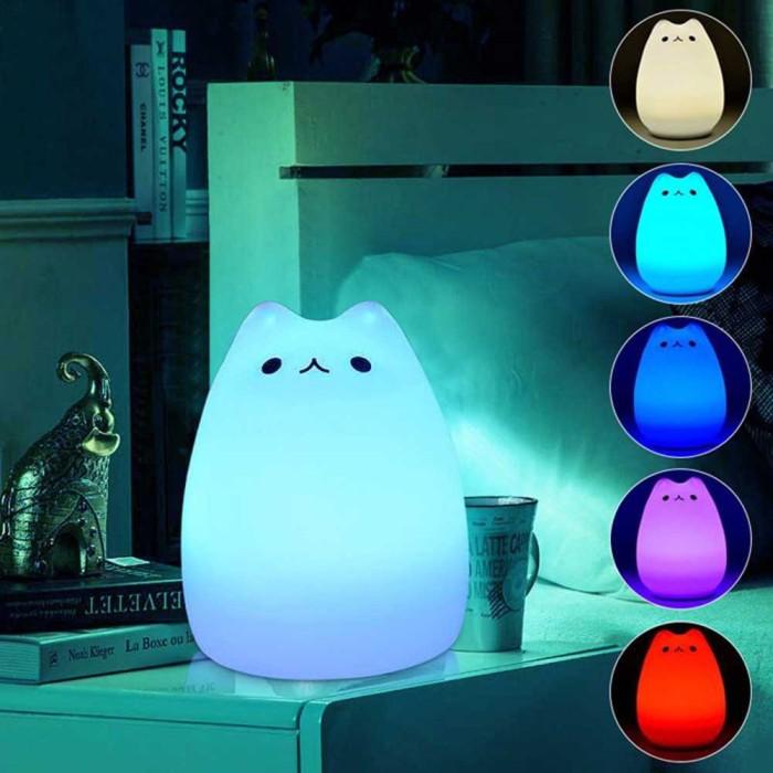 harga Lampu 7 warna model kucing lucu putih murah dekorasi rumah tidur meja Tokopedia.com