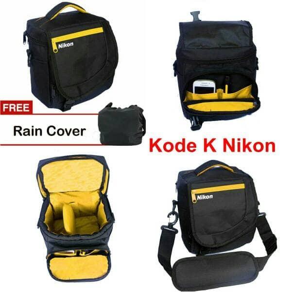 tas kamera selempang mirrorless slr nikon kode K free rain cover kotak