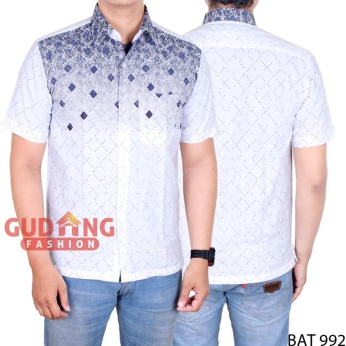 Gudang Fashion - Kemeja Batik Kombinasi Pria - Putih