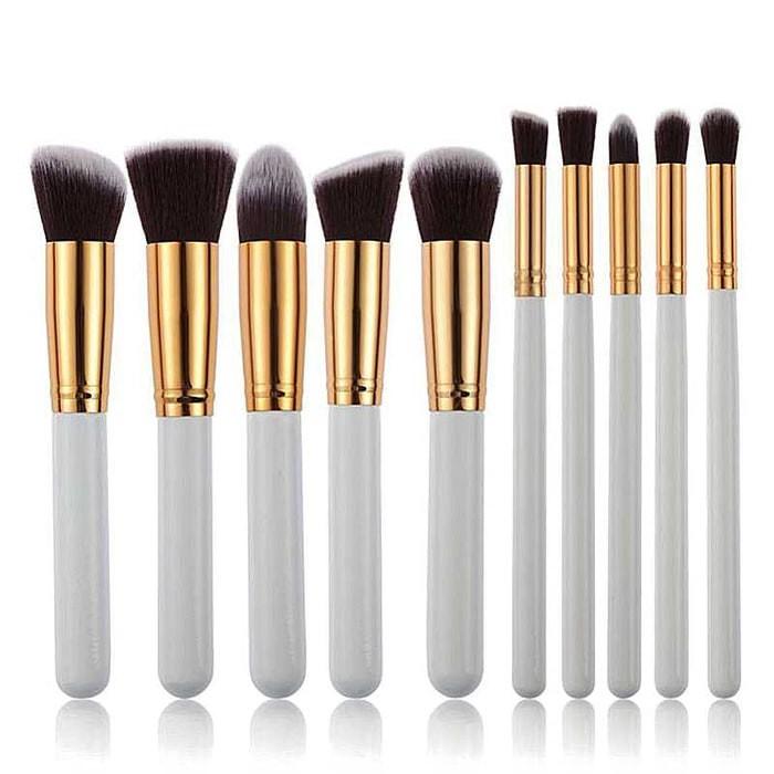 harga Set kuas make up kabuki 10 pcs 10pcs cosmetic makeup brush putih emas Tokopedia.com