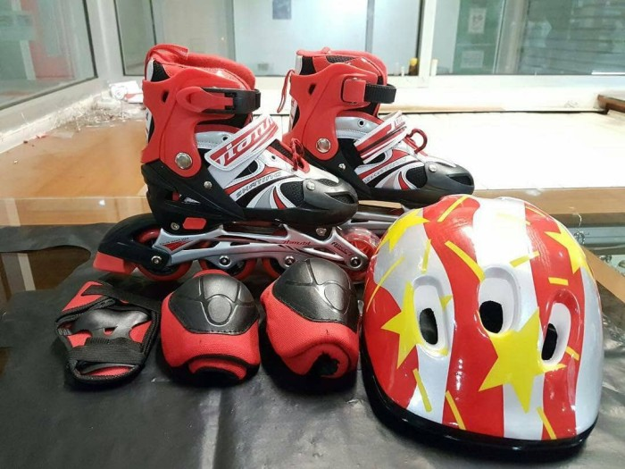harga Fullset sepatu roda anak (body protector+helm) / inline skate Tokopedia.com