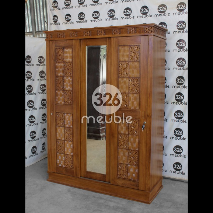 harga Almari 3 pintu jati mebel jepara - lemari pakaian sliding minimalis Tokopedia.com