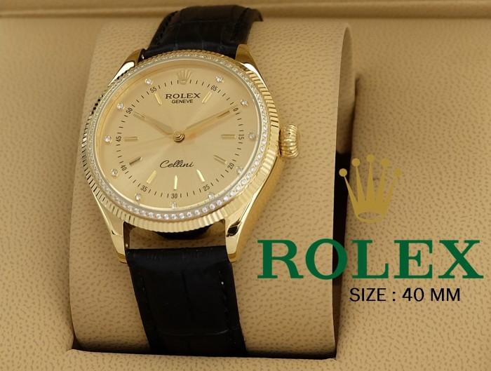 Foto Produk Jam Tangan Pria ROLEX Cellini Diamond GOLD BLACK Leather - AUTOMATIC dari Oniomania