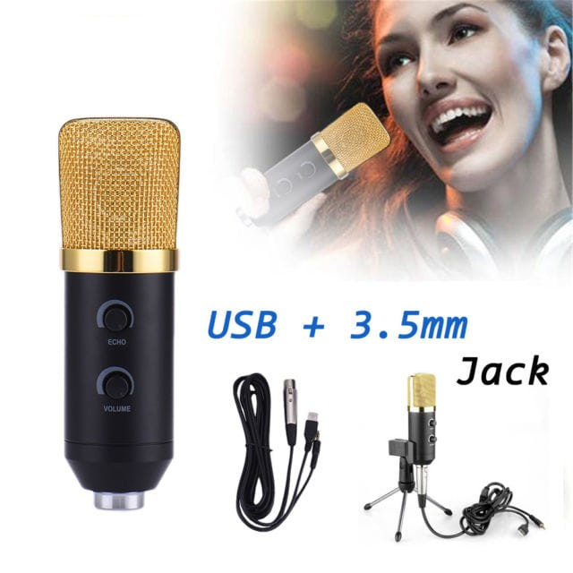 harga Microphone mikrofon usb condenser karaoke recording & tripod stand Tokopedia.com