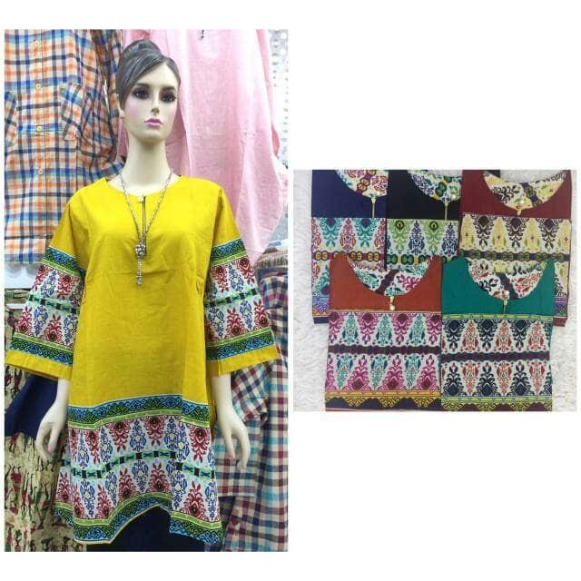 Kocllaire baju tunik blus gamis batik panjang wanita grosir