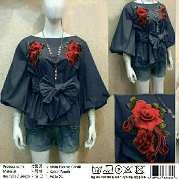 Jual pastel kania blouse ribbon balon - new fashion cantik  0c73f30aac