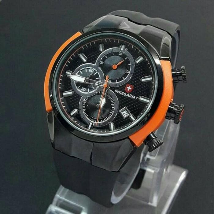 Jam tangan pria, Swiss army rubber, chrono & tgl aktif/on, kw