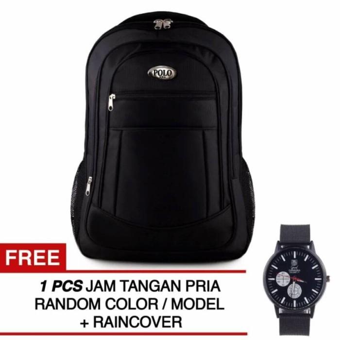 Polo U.S.A Black COBRA Backpack + Raincover + FREE Black Knight