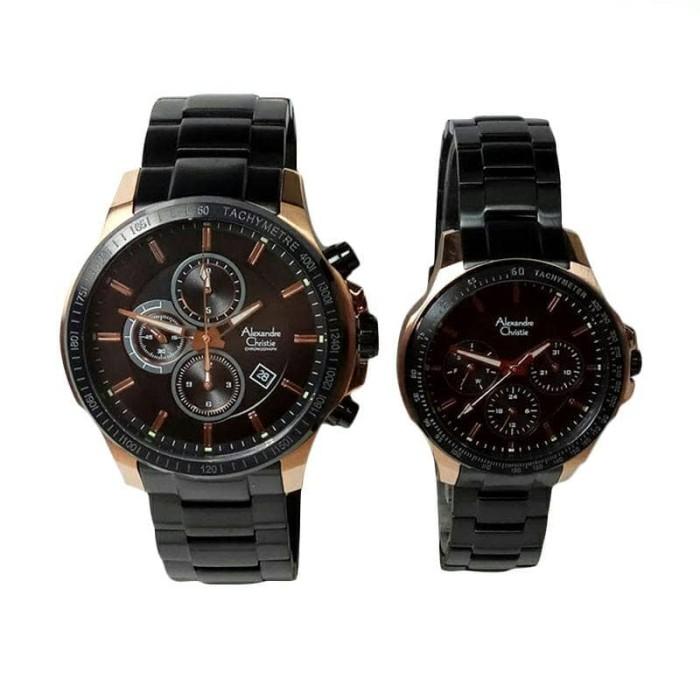Jam tangan alexandre christie couple ac6352 / ac 6352 blackrosegold