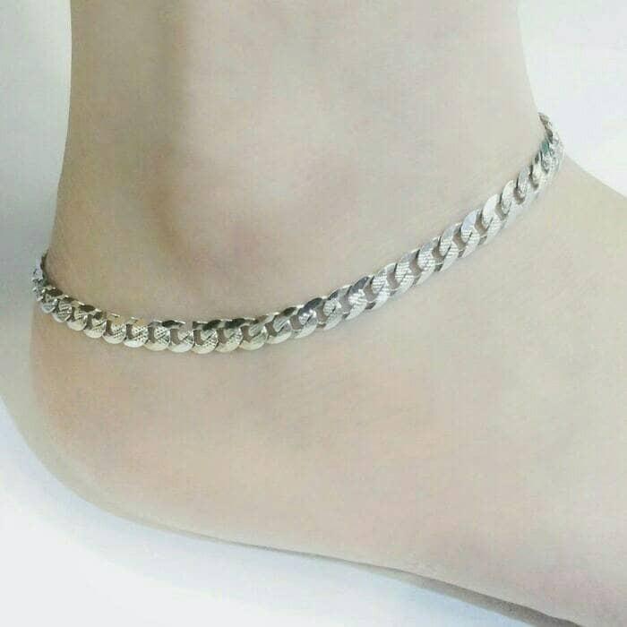 harga Gelang kaki dewasa/perhiasan gelang perak silver 925 lapis emas putih Tokopedia.com