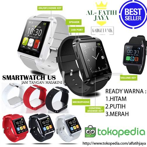 harga Jam tangan hp smartwatch u watch u8 hitam putih merah smart watch Tokopedia.com