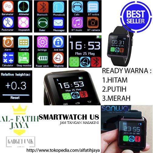 harga U8 original smartwatch u watch ori merah red smart watch murah termura Tokopedia.com