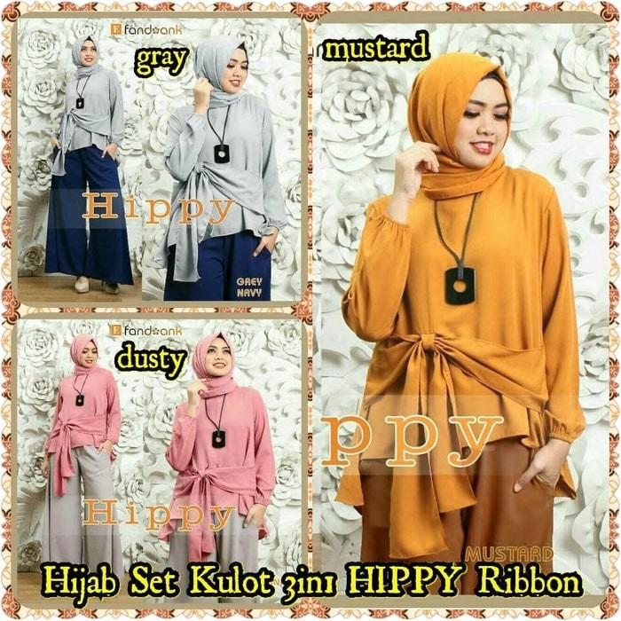 Fashion Wanita Muslim Pashmina Hijab Hijab Set Kulot 3in1 HIPPY Ribbon