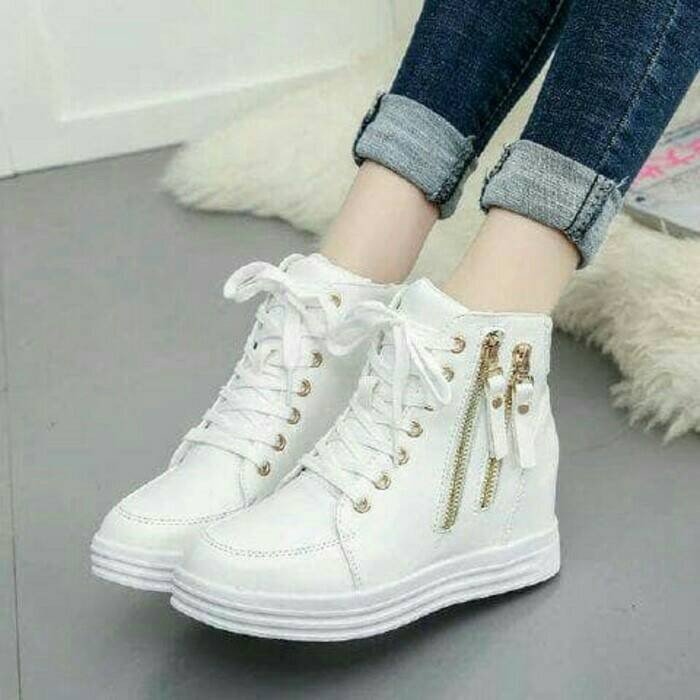 Sepatu boots ruby style double zipp putih / boot sleting 2 white