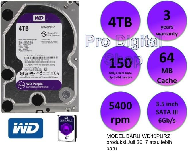 Jual WD Purple 4TB / Internal HDD / CCTV HDD / 3 year warranty - DKI  Jakarta - PRODIGITAL SHOP | Tokopedia