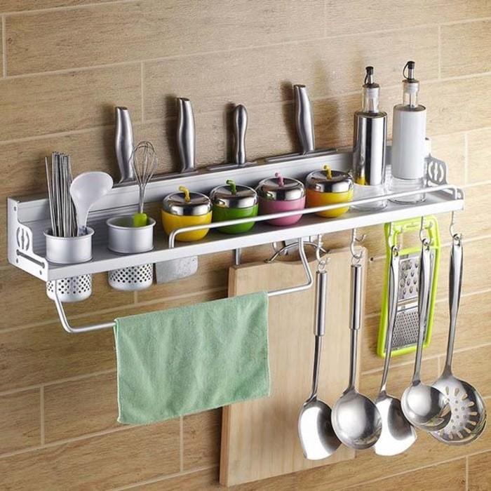 Rak dapur aluminium rak dinding tempat penyimpanan alat masak bumbu