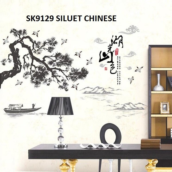 jual wall stiker uk.60x90 wall sticker dinding sk9129 chinese siluet
