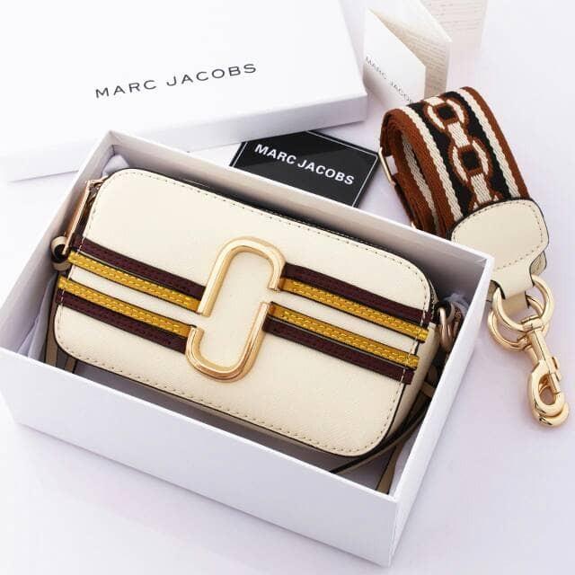 67217b72573a Jual Marc Jacobs Stripe Snapshot Camera Bag with Box  M066 Semi ...
