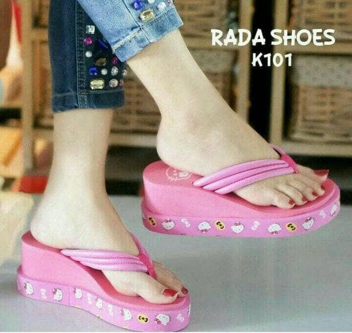 wedges sendal sandal hello kitty hk replika spons