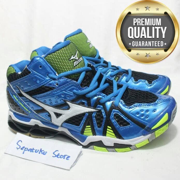 Jual Sepatu Mizuno Wave Tornado 9 Mid Blue Green Mens- Premium High ... 2515760f47