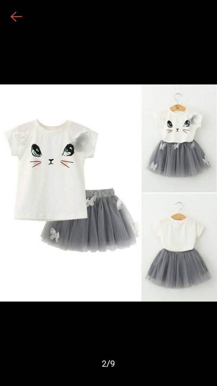 Jual Baju Anak Perempuan Import Setelan Kaos Motif Cute Cat Rok Tutu