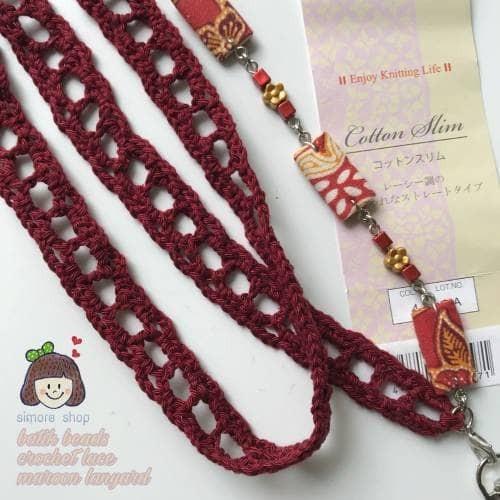 harga Tali name tag rajut manik batik maroon gantungan id card lanyard Tokopedia.com