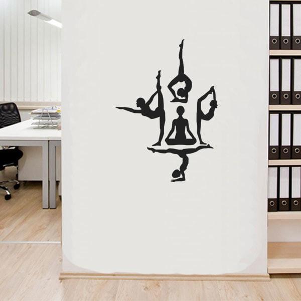 jual murah wall sticker yoga pose siluet dinding kaca rumah sanggar