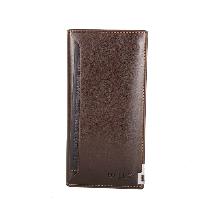 Dompet panjang pria kulit asli murah BALLY TT 3 COFFEE .