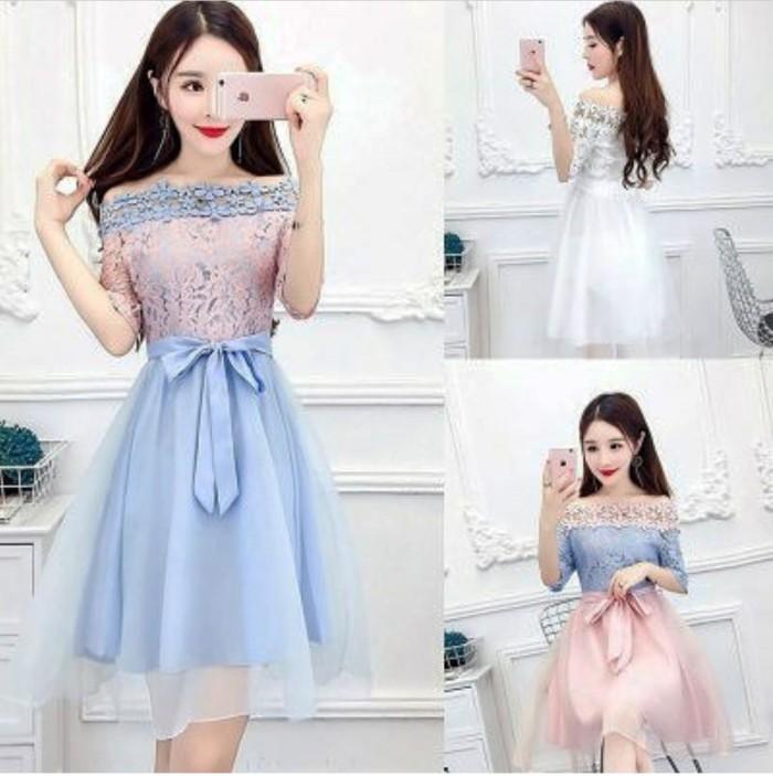 harga Jes-ps0125 mini dress sabrina brukat import-party dress-gaun pesta Tokopedia.com
