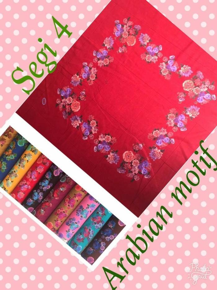 Jual Jilbab Segi Empat Saudia Motif Hijab Katun Motif Bunga Kupu