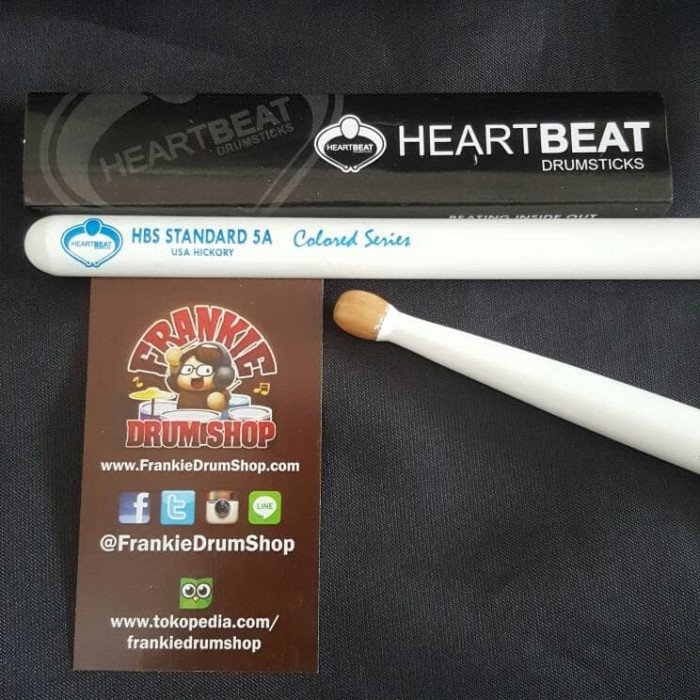Foto Produk HeartBeat HBS5AHOCW - 5A White HBS Standard Oval Tip Hickory Stick dari FrankieDrumShop