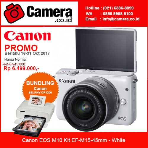 harga Canon eos m10 kit ef-m15-45mm - white +bundling canon selphy cp1200 Tokopedia.com