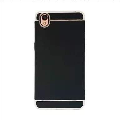 Casing HP 3 in 1 Protection Case Oppo A37 / Neo 9 Hitam lis Silver