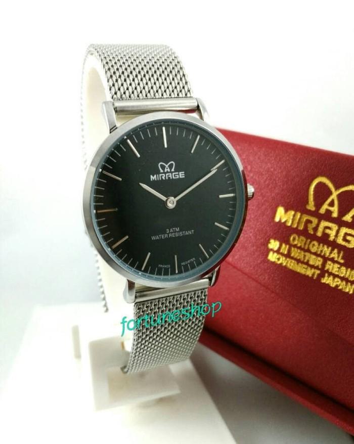 ... Jam Tangan Wanita Mirage Original 8563L Silver Black Dial