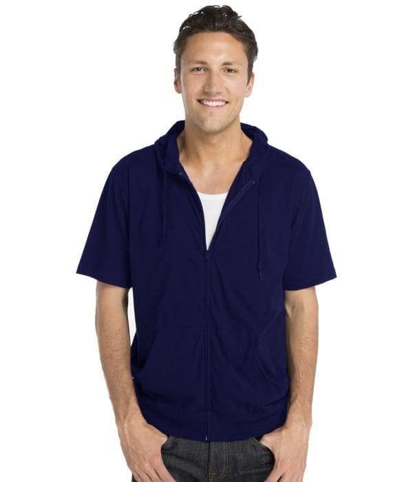 Jaket Hoodie Lengan Pendek Zipper Navy Short Sleeve Hoodie Zipper Navy