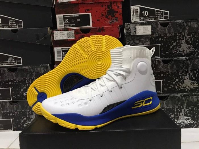 972bf3fd5c71 Jual Sepatu Basket Under Armour Curry 4 GSW Home White Blue Putih ...