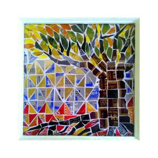Jual Lukisan Gambar Souvenir Kado Hadiah Mozaik Cangkang Rokok