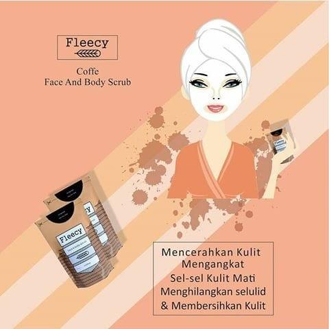 Fleecy face n body scrub coffee kopi / lulur / original / aman / bpom