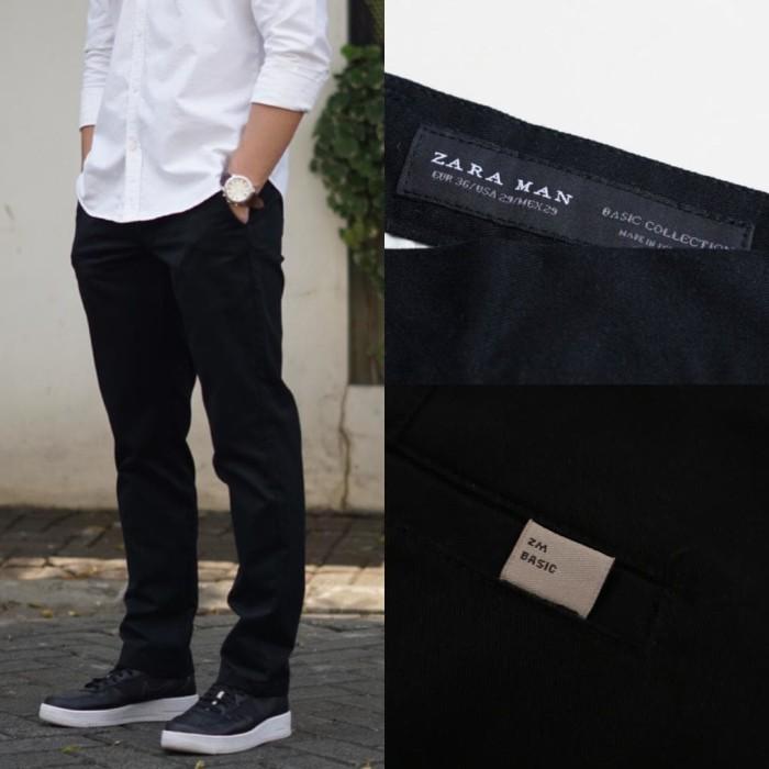 harga Celana panjang zara man basic classy fit chino trousers black original Tokopedia.com
