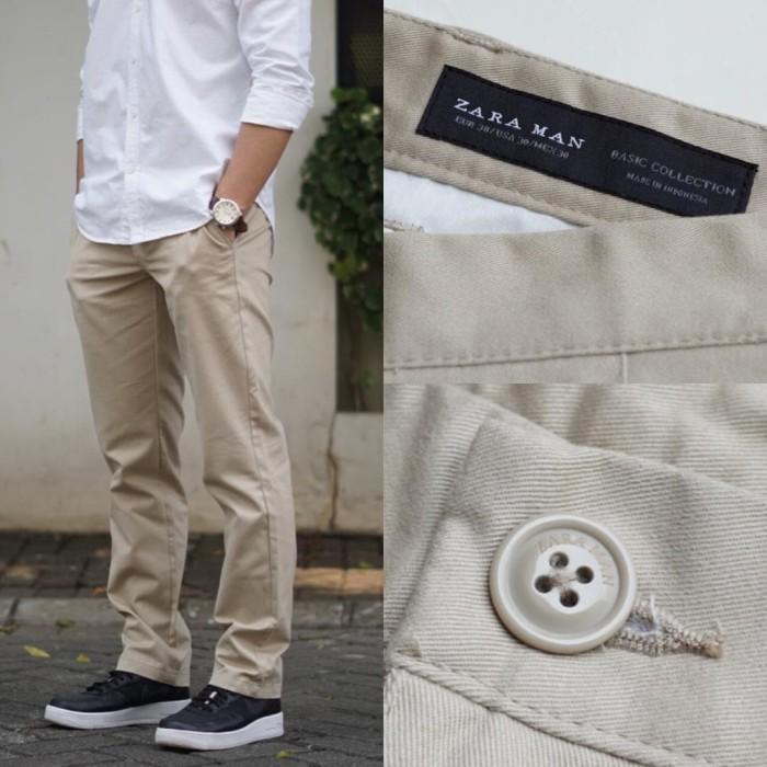 harga Celana panjang zara man basic classy fit chino trousers khaki original Tokopedia.com
