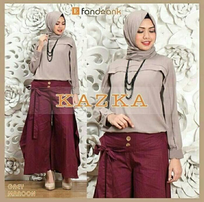 Foto Produk Baju Busana Muslim Setelan Kulot Wanita Hijab KAZKA SET 3IN1 GREY dari Djeeva Store