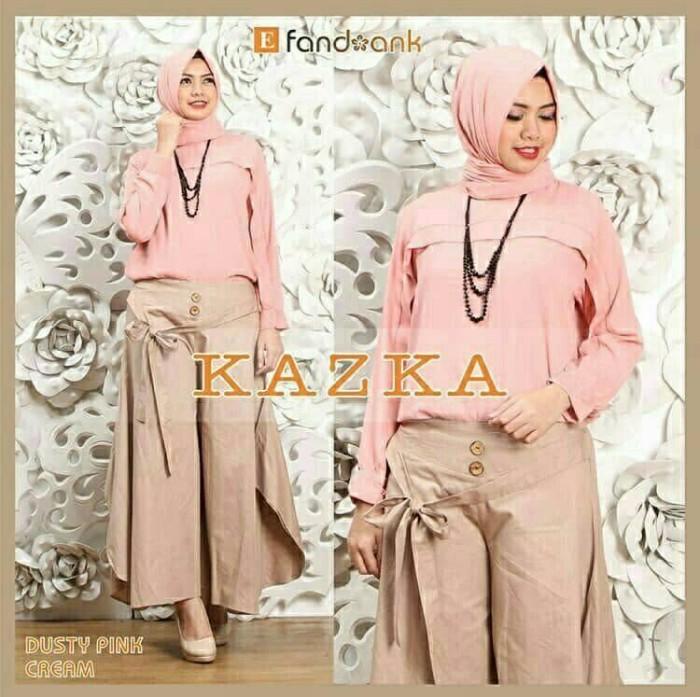 Foto Produk Baju Busana Muslim Setelan Kulot Wanita Hijab KAZKA SET 3IN1 DUSTY dari Djeeva Store