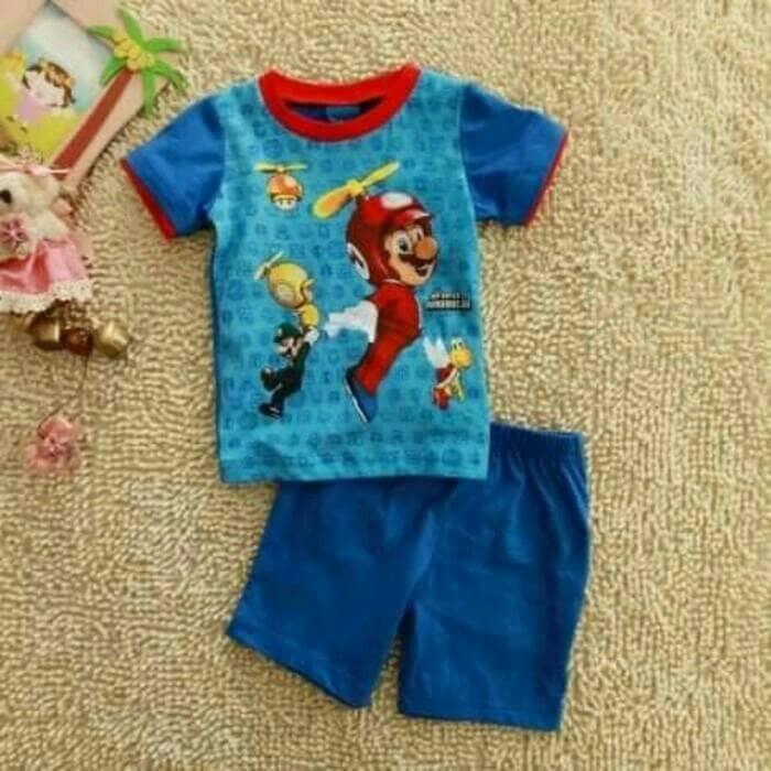 harga Setelan Kaos Celana Pendek Biru Disney Super Mario Bros Sz.18mo & 3t Tokopedia.com
