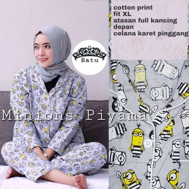 Murah Pajama Piyama Baju Tidur Muslim Setelan Lengan Panjang Katun